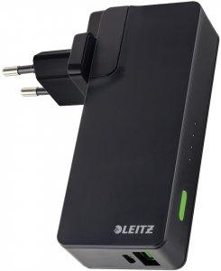 Ładowarka sieciowa z powerbankiem Leitz Complete Travel, 3000 mAh, ze złączem USB, czarny