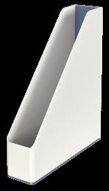 Pojemnik na dokumenty Leitz WOW, dwukolorowy, A4, 73mm, biało-szary