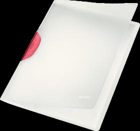 Skoroszyt plastikowy z klipsem Leitz Magic, A4, do 30 kartek, czerwony
