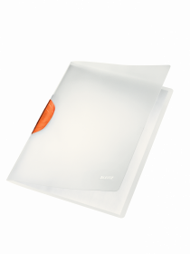 Skoroszyt  plastikowy z klipsem Leitz Magic, A4, do 30 kartek, pomarańczowy