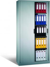 Szafa aktowa z drzwiami żaluzjowymi CP, metal, 1980x1000x420mm, grubość blachy 0.8-1.0 mm, szary jasny