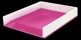 Półka na dokumenty Leitz Wow, A4, plastikowa, dwukolorowa, biało-różowy