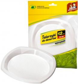 Talerze jednorazowe do deserów Jan Niezbędny, 15cm, plastik, 12 sztuk, biały