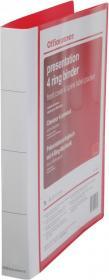 Segregator prezentacyjny Office Depot, A4, szerokość grzbietu 35mm, do 200 kartek, 4 ringi, czerwony