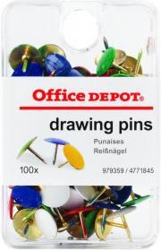Pinezki Office Depot, 100 sztuk, mix kolorów