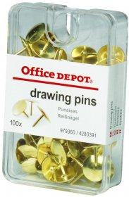 Pinezki Office Depot, 100 sztuk, złoty