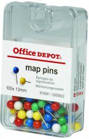 Szpilki Office Depot, 100 sztuk, mix kolorów