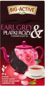 Herbata Earl Grey czarna smakowa liściasta Big Active, bergamotka z płatkami róży, 80g