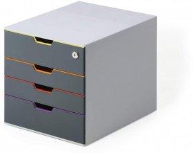 Pojemnik Durable Varicolor Safe, z 4 szufladkami, do dokumentów, A4, szary