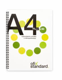 Kołonotatnik Ofix Standard, A4, w kratkę, 80 kartek, biało-zielony