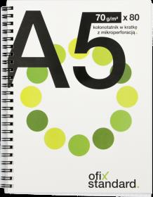 Kołonotatnik Ofix Standard, A5, w kratkę, 80 kartek, biało-zielony