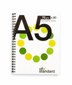Kołonotatnik Ofix Standard, A5, w linie, 80 kartek, biało-zielony