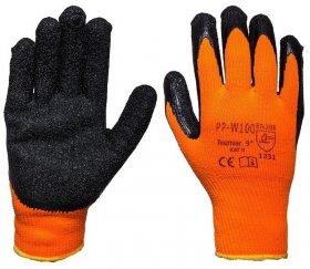 Rękawice ocieplane W100, rozmiar uniwersalny, pomarańczowo-czarny
