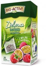 Herbata zielona smakowa w torebkach Big-Active, malina + marakuja, 20 sztuk x 1.7g