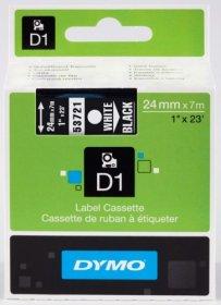 Taśma do drukarek etykiet Dymo D1, 24mmx7m, nadruk biały, taśma czarna