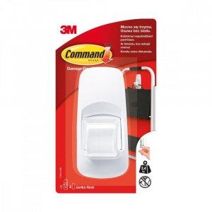 Haczyk wielokrotnego użytku Command Jumbo, 1 sztuka + 2 paski, biały