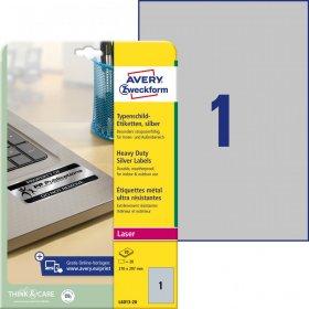 Etykiety znamionowe Avery Zweckform, 210x297mm, 20 arkuszy, srebrny