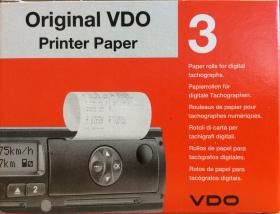 Papier do tachografu cyfrowego VDO, 3 rolki x 8 m, biały