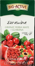 Herbata owocowa w torebkach Big-Active, żurawina/granat/yerba mate/guarana, 20 sztuk x 2.25g