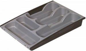 Wkład do szuflady na sztućce rozsuwany, 300x420x64mm, czarno-srebrny