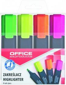 Zakreślacz Office Products, ścięta, 4 sztuki, mix kolorów
