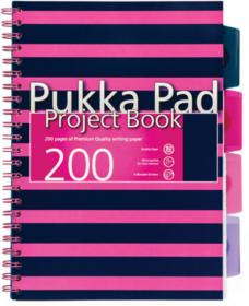 Kołonotatnik Pukka Pads Navy Project Book, B5, w kratkę, z przekładkami, 200 kartek, różowy