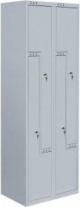 Szafa ubraniowa Metalkas, metal, 1800x600x400mm, grubość blachy 0.5mm, z drzwiami w kształcie litery L, szary