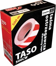 Taśma ostrzegawcza Reis, dwustronna, 70mmx500m, biało-czerwony