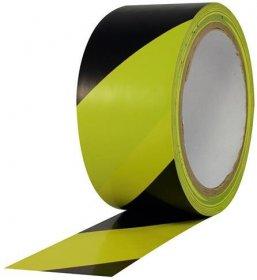 Taśma ostrzegawcza samoprzylepna, 50mm/33m, żółto-czarny