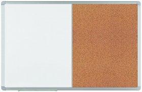 Tablica suchościeralno-magnetyczna/korkowa 2x3 Combi, w aluminiowej ramie, 120x90cm, biało-brązowy