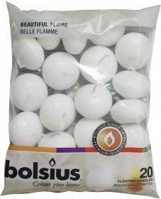 Świece pływające Bolsius, 20 sztuk, biały