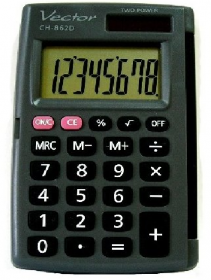 Kalkulator kieszonkowy Vector KAV CH-862D, 8 cyfr, czarny