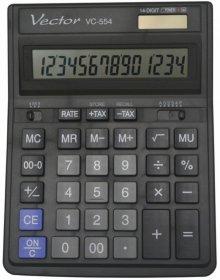 Kalkulator biurowy Vector VC-554X BL, 14 cyfr, czarny