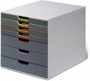 Pojemnik Durable Varicolor, z 7 kolorowymi szufladami, do dokumentów, C4, szary