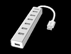 Rozgałęziacz - Hub Unitek Y-2183, 7x USB 2.0, srebrny
