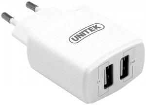 Ładowarka sieciowa Unitek Y-P547A, 2x USB 2.4A Slim, biały