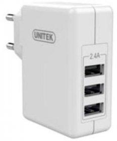 Ładowarka sieciowa Unitek Y-P537B, 3xUSB 2.4A 24W, biały