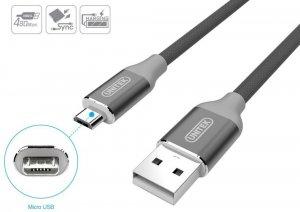 Przewód Unitek Y-C4026AGY, Premium USB-microUSB, 1m, szary