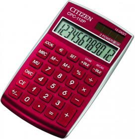 Kalkulator biurowy Citizen CPC-112 RDWB, 12 cyfr, czerwony
