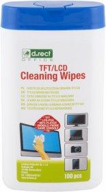 Chusteczki nawilżone do czyszczenia ekranów TFT/LCD D.Rect, tuba, 100 sztuk