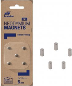 Magnesy neodymowe Leviatan, 10mm, 5 sztuk, srebrny