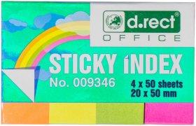 Zakładki samoprzylepne D.Rect, indeksujące, 20x50mm, 4x50 sztuk, mix kolorów