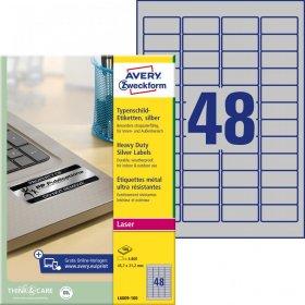 Etykiety znamionowe Avery Zweckform Heavy Duty, A4, 47.5x21.2mm, 100 arkuszy, srebrny