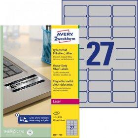 Etykiety znamionowe Avery Zweckform Heavy Duty, A4, 63.5x29.6mm, 100 arkuszy, srebrny