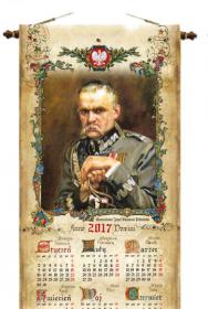 Kalendarz jednoplanszowy Udziałowiec 2018, Piłsudski, roczny, 285x920 mm
