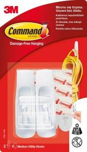 Haczyki wielokrotnego użytku Command, 2 sztuki + 4 paski, biały