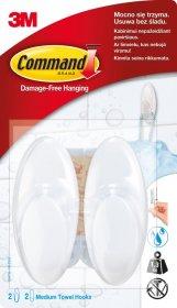 Haczyki łazienkowe Command, do wielokrotnego użytku, średnie, 2 sztuki + 2 paski, biały