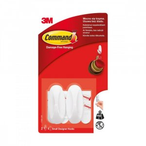Haczyk wielokrotnego użytku Command Designer, 2 sztuki + 4 paski, biały