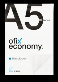 Blok biurowy w kratkę Ofix Economy, A5, 100 kartek, biało-czarny