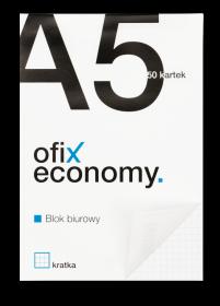Blok biurowy w kratkę Ofix Economy, A5, 50 kartek, biało-czarny